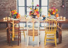 Summer Wedding Styled Shoot at the Wythe Hotel via Amber Gress / Planning + Design by Viva Max / Florals by Blossom and Branch / Photos by Amber Gress / Barnwood Table & Mix + Match Chairs by Patina Wedding Set Up, Wedding Colors, Wedding Details, Summer Wedding, Wedding Stuff, Wedding Ideas, Wood Table, A Table, Hotel Wedding Inspiration