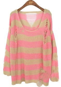 White Pink Striped Hollow Ripped Pullovers Sweater