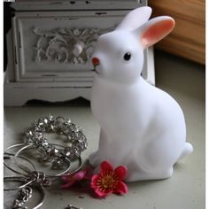 White woodland rabbit night light