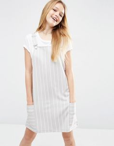 ASOS+Pinafore+Dress+in+Ponte+with+Stripe