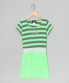 Neon Green Stripe Star Dress - by BTween!
