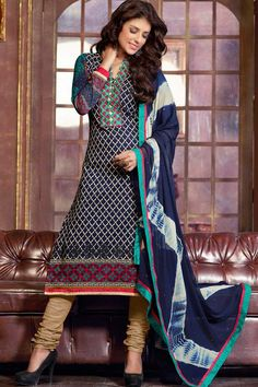Navy Blue Cotton Churidar Suit with Navy Blue Chiffon Dupatta Price:-£39.00 Andaaz Fashion presents new arrival designer semi stitched Navy Blue Churidar Suit with Navy Blue Chiffon Dupatta with Quarter Sleeve, Below Knee Length, Collar Neck Kameez. Embellished with Resham, Stone, Embroiderey. This is prefect for Casual http://www.andaazfashion.co.uk/navy-blue-churidar-suit-with-navy-blue-chiffon-dupatta-dmv13299.html