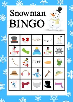 Free Printable Snowman Bingo Game