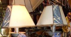 Old World Fortuny Lampshade ~ Small French Triangles with Light Parchment and Blue Fortuny on 3 Sides — at Studio Veneto.