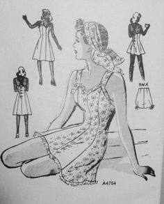 1940s Swimsuit or Sundress Pattern Anne Adams A4754 Flirty Pin Up Style Bathing Suit and Panties Criss Cross Back Bust 32 Vintage Sewing Pattern