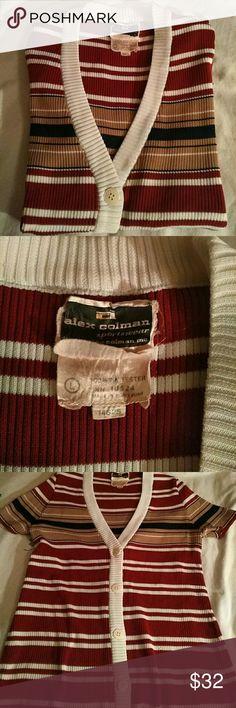 Alex Colman vintage po' boy cardi Super 70's cardigan by rare vintage find Alex Colman Sportswear.  Burgundy, tan, cream, and navy ribbing, fully button front, shirt sleeved. VG vintage condition. Alex Colman Tops