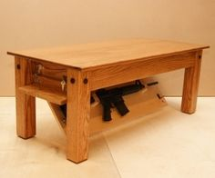 Are you looking for a secret space to hide your weapons? Well, stop searching and look at this elegant Oak Coffee Table by NJ Concealment Furniture that comes with a secret compartment at the bottom to hide your secret stuff. Hidden Gun Storage, Hidden Shelf, Weapon Storage, Gun Concealment Furniture, Hidden Weapons, Hidden Spaces, Hidden Compartments, Oak Coffee Table, Furniture Design