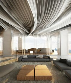 Lobby Hotel.. what a soft yet architectural ceiling treatment