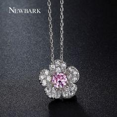 Cute Necklaces & Pendants Pink Centre CZ Stone Sakura Flower Chain Choker