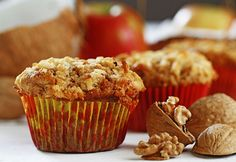 Apple Coconut Muffins recipe made with canola oil Baked Apples, Cinnamon Apples, Muffin Recipes, Bread Recipes, Coconut Muffins, Fresh Apples, Muffin Cups, Canola Oil, Brown Sugar