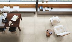 Exceptionnel An Open Concept Living Room   Dining Room Unified By Our Tracks Series Tiles  In Beige