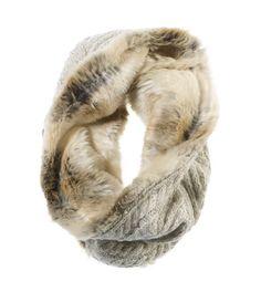Looks so warm & cozy~  best of both worlds: faux fur & sweater knit. :)