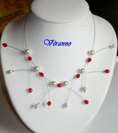 Collier Étincelle ivoire et rouge n°2. Bijoux mariage, collier mariée