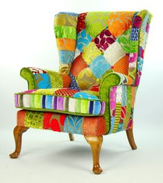Made to order: lead time weeks * vintage Parker Knoll wing back armchair in patchwork style * hand stitched patch-worked process, no two Designers Guild, Upholstered Chairs, Wingback Chair, Patchwork Chair, Design Floral, Funky Furniture, Coaster Furniture, Quilt Making, Living Room