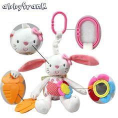 Abbyfrank Rabbit Baby Rattle Crib Gutta-percha Pram Toys Soft Bunny Plush Doll Hanging Stroller Infant Baby Toys 0-12 Months