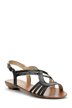 Contrast Glitter Strap Sandals