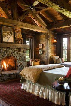 Log Home Bedroom, Rustic Master Bedroom, Bedroom Fireplace, Log Cabin Bedrooms, Fireplace Ideas, Rustic Bedrooms, Cabin Fireplace, Fireplace Design, Cozy Bedroom