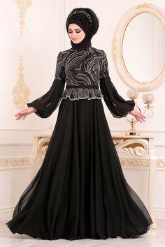 f1d8033427eae Tesettürlü Abiye Elbise - Balon Kol Siyah Tesettür Abiye Elbise 3731S -  Tesetturisland.com