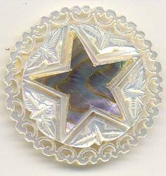 Hand Carved Shell Button Mother of Pearl Star