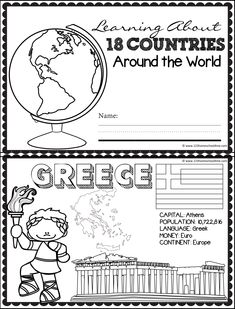 Mini Books, Felt Books, Geography For Kids, Teaching Geography, Construction Theme Classroom, School Coloring Pages, Countries And Flags, Social Studies Worksheets, Les Continents