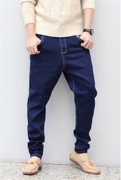 Men New Jean Joggers Mens Fashion Denim Joggers Ankle Length Harem Pants  Casual Men Jeans Sportswear