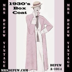 Vintage Sewing Pattern 1930's Box Coat  A1014 by Mrs. Depew Vintage - Available for Instant Download.