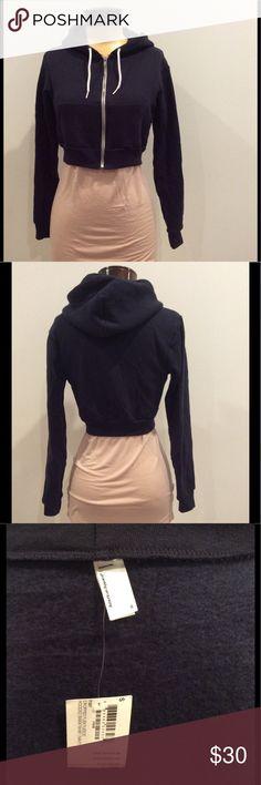 American apparel crop hoodie Dark blue cropped hoodie with zip up front American Apparel Tops Sweatshirts & Hoodies