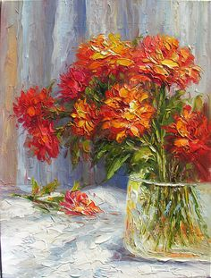 Summer Love 23 x 30 Original Oil Painting Palette Knife Colorful Red Field Flowers Vase Bouquet Textured by Marchella