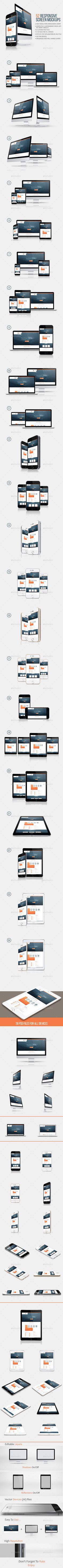 52 Responsive Screen Mockup - Multiple Displays