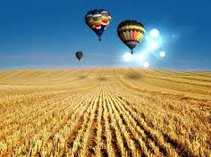 Wallpaper mostrando três coloridos balões sobrevoando um campo de cereais. Os balões do papel de parede tem como pano de fundo um céu azul e límpido. Visitar página  Visualizar imagem