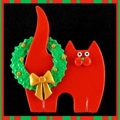 Red Kitty Cat & Christmas Wreath Pin by artsandcats, via Flickr