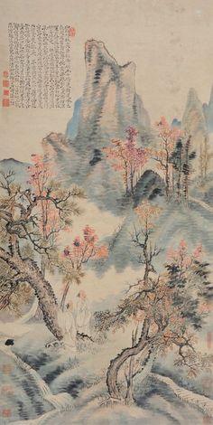 清代 - 石濤 - 秋山红葉                        Shi Tao (1642–1707), was a Chinese landscape painter and poet during the early Qing Dynasty