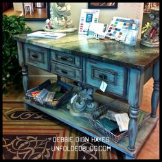 Three custom finishes - the countertop, cabinet and the floorcloth. Artworks Spokane shop in Washington.