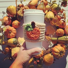 Pumpkin spice latte, pumpkin coffee cozy, fall decor, autumn decor, fall photoshoot, psl, fall fashion  A personal favorite from my Etsy shop https://www.etsy.com/listing/386661280/crochet-coffee-cozy-crochet-cozy-with