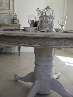 find this pin and more on apartment table - Distressed White Kitchen Table