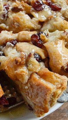 Bread Pudding with Vanilla Bean Sauce - use gluten free bread and skip the raisins for low fodmap