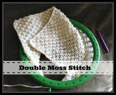 Double Moss Loom Knit Stitch Pattern. Easy step by step instructions. Skills included U-wrap knit stitch and Purl Stitch. htpp://www.LoomaHat.com