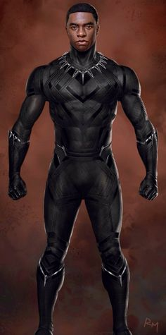 We all can't wait to see Black Panther and Spider-Man in Captain America: Civil War, and some new concept art offers up a look at the costume and T'Challa unmasked while fully suited up. Black Panther King, Black Panther Marvel, Marvel Dc Comics, Marvel Heroes, Marvel Avengers, Hulk, Black Panther Chadwick Boseman, Black Panther Costume, X Men