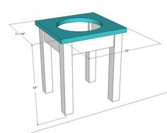 Plans for another raised dog bowl station with an open base,  could be modified for 2 bowls