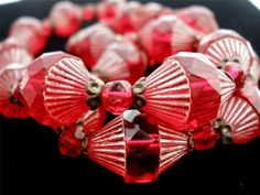 Art Deco Hand Carved Ruby Red Bi Cone Czech Glass Bead Christmas Necklace | eBay