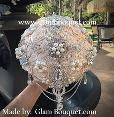 """VINTAGE GATSBY BOUQUET - $499 Full Price is $499, DEPOSIT IS $299, BALANCE $200 @ COMPLETION Exclusive Custom 9"""" (28"""" in circumference) Designer made Bridal Brooch Bouquet in Ivory Champagne will all"""