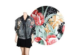 Medium REVERSIBLE Shimmery Floral / Black by IntertwinedVintage