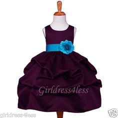 Plum Purple Turquoise Wedding Pick Up Flower Girl Dress 6M 12M 18M 2 4 6 8 10 12 | eBay