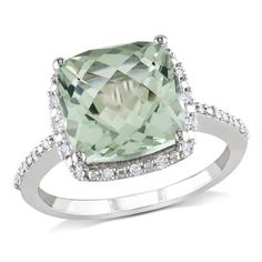 Amour Collection 10K White Gold Green Amethyst and Diamond Ring (.1 Cttw, G-H Color, I2-I3 Clarity) $326.00
