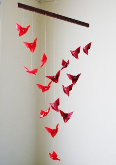 Origami Mobile - Fluttering Butterflies - Hanging Decor - Origami Paper Sculpture - Modern Mobile. $95.00, via Etsy.