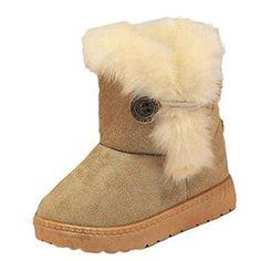 Vovotrade bebé chicas Botas de nieve zapatos calientes (Tamaño: 21, Café)