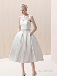 Strapless Satin Tea-length A-line Wedding Dress Tea Length Wedding Dress 1b9127453346