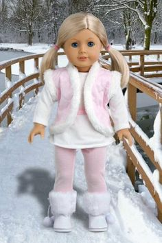 DreamWorld Collections Snowflake - 4 piece outfit includes, leggings, long sleeve tunic, vest and boots - 18 Inch American Girl Doll Clothes. Sewing Doll Clothes, Girl Doll Clothes, Doll Clothes Patterns, Girl Dolls, Doll Patterns, Ag Dolls, Barbie Clothes, Dress Patterns, Ropa American Girl
