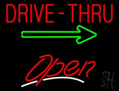 Drive-Thru Open White Line Neon Sign 24 Tall x 31 Wide x 3 Deep, is 100% Handcrafted with Real Glass Tube Neon Sign. !!! Made in USA !!!  Colors on the sign are Green, White and Red. Drive-Thru Open White Line Neon Sign is high impact, eye catching, real glass tube neon sign. This characteristic glow can attract customers like nothing else, virtually burning your identity into the minds of potential and future customers.