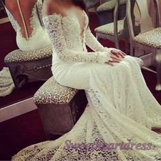Luxury creamy lace strapless V-neck wedding dress,long sleeve prom gown, occasion dress 2016 -> sweetheartdress.s... #coniefox #2016prom